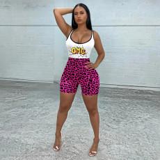 Slim Casual Sports Yoga Leopard Print Rompers MEM-8345
