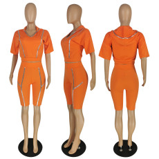 Casual Sports Hooded Two Piece Short Sets YIS-750