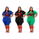 Plus Size Lip Print V Neck Two Piece Short Sets YIM-178