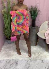 Printed Off-shoulder Fashion Slim Midi Dress WAF-7159