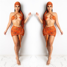 Sexy Bikinis Two Piece Set+Skirts+Headkerchief LSL-6428