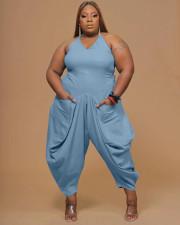 Fashion Plus Size 5XL Solid Color Suspender Jumpsuit WAF-7167