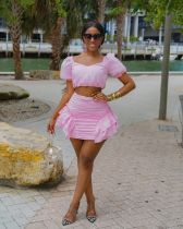 Solid Ruffled Short Sleeve Mini Skirt Two Piece Sets JRF-3600