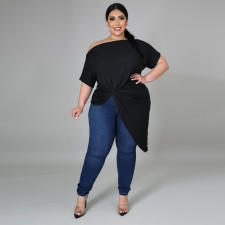Plus Size Solid Short Sleeve Irregular Top CYA-1497