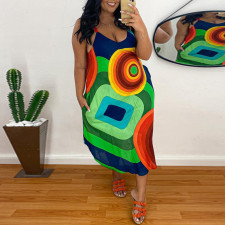 Plus Size Sexy Printed Spaghetti Strap Midi Dress CYA-1453