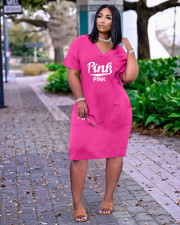 Plus Size PINK Letter Print V-neck Fashion Casual Midi Dress ARM-8261