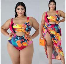 Plus Size Printed Bodysuit Swimsuit+Long Skirt 2pcs Beachwear CYA-1053