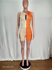 Contrast Color Sleeveless Zipper 2 Piece Short Sets YYGF-1072
