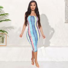 Sexy Printed Off Shoulder Midi Tube Dress GLF-7006