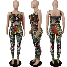 Fashion Sexy Graffiti Print Camisole And Pants Two Piece Sets APLF-5032