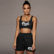 Pink Letter Print Tank Top Shorts 2 Piece Suits WXF-8840