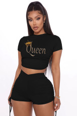 Queen Letter Print Backless Short Sleeve 2 Piece Suits RSN-7100