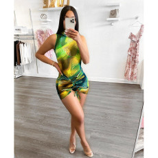 Sexy Printed Mesh Bodysuit+Mini Skirt 2 Piece Sets WXF-8837
