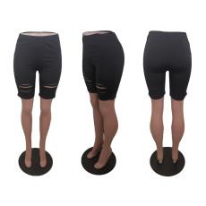 Casual Solid Hole Skinny Shorts BLI-2278
