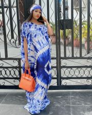 Casual Loose Printed Short Sleeve Maxi Dress Without Headscarf JRF-3611