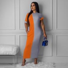 Contrast Color Short Sleeve Maxi Dress OM-1211