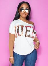Plus Size QUEEN Letter Print Oblique Shoulder T Shirt APLF-5015