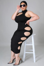 Plus Size Sexy Hole Sleeveless Midi Dress YH-001