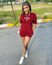 Letter Print T Shirt And Shorts 2 Piece Sets WZ-8373