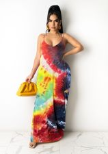 Tie Dye Print Sleeveless Strap Maxi Dress TR-907-1