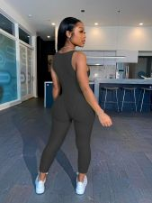 Solid Sexy Sleeveless Skinny Jumpsuit MIL-214