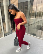 Solid Split Tube Top And Pants 2 Piece Sets WZ-8375