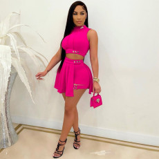 Sexy Sleeveless Pleated Culottes Two Piece Sets LSD-9140