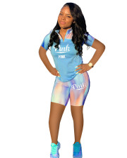 Pink Letter Print Casual Sports 2 Piece Short Sets LDS-066