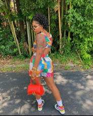 Casual Printed Tank Top And Shorts 2 Piece Sets LSD-9126