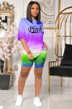 Pink Letter Print Gradient Two Piece Short Sets OXF-8032