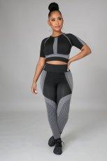 Fitness Yoga Printed Short Sleeve High Waist 2 Piece Sets LSD-9127