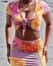 Sexy Printed Tie Up Crop Top Mini Skirt 2 Piece Sets LSD-9138