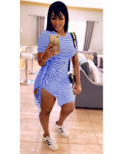 Sexy Striped Drawstring Split Mini Dress OMY-0016