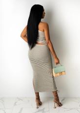 Sexy Striped One Shoulder Hollow Split Long Dress YUF-9065