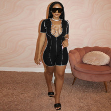 Sexy Lace Up Short Sleeve Romper MA-428