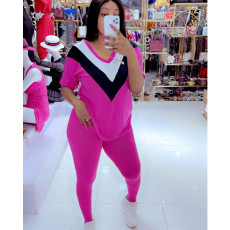 Plus Size Casual Short Sleeve Two Piece Pant Sets AWF-5858