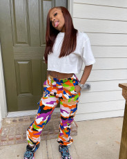 Casual T Shirt+Camo Print Cargo Pants 2 Piece Suits WSYF-5830