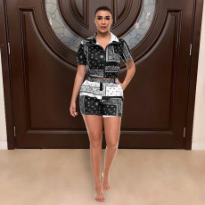 Casual Printed Short Sleeve Zipper 2 Piece Short Sets WSYF-5853