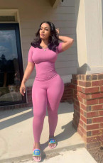Solid Short Sleeve Tight Two Piece Pants Set TR-1135