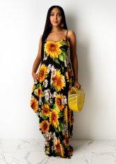 Sunflower Print Spaghetti Strap Maxi Dress TR-907-2