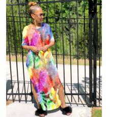 Tie Dye Print Split Loose Maxi Dress WSM-2006