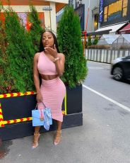 Sexy One Shoulder Ruched Irregular Skirt Sets YH-5213