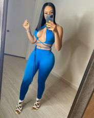 Sexy Strappy Backless Two Piece Pant Sets NIK-236