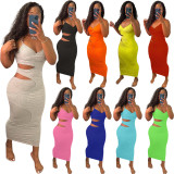 Plus Size Solid Hollow Out Spaghetti Strap Long Dress MN-9300