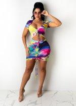 Sexy Printed Drawstring Ruched Mini Skirt Sets CTHF-9021