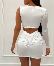 Mesh Patchwork One Shoulder Mini Skirt 2 Piece Sets OY-6281