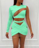 Mesh Patchwork One Shoulder Mini Skirt 2 Piece Sets OY-6281