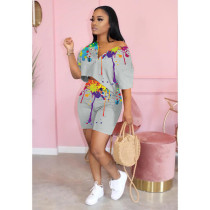 Ink Jet Print Casual Two Piece Short Sets DSF-8017