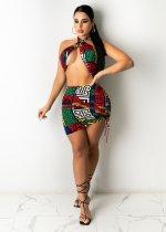 Sexy Printed Wrap Chest Backless Mini Dress LSL-6432