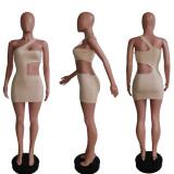 Sexy One Shoulder Sleeveless Hollow Mini Dress MEM-1618